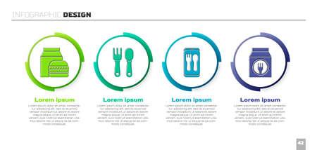 Set Online ordering and burger delivery, Fork and spoon, Online ordering and delivery and Online ordering and delivery. Business infographic template. Vector.