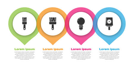 Set Paint brush, Paint brush, Light bulb and Spray can nozzle cap. Business infographic template. Vector. Иллюстрация