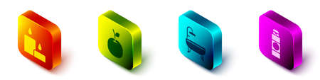 Set Isometric Burning candle, Apple, Bathtub and Cream or lotion cosmetic tube icon. Vector.