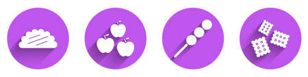 Set Taco with tortilla, Apple, Meatballs on wooden stick and Cracker biscuit icon with long shadow. Vector.