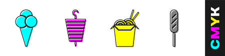Set Ice cream in waffle cone, Grilled shish kebab, Asian noodles and chopsticks and Corn dog icon. Vector. Illusztráció