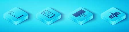 Set Isometric Shower, Library bookshelf, Chandelier and Smart Tv icon. Vector