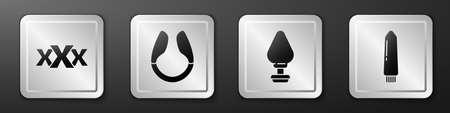Set Sex shop, Dildo vibrator, Anal plug and Dildo vibrator icon. Silver square button. Vector