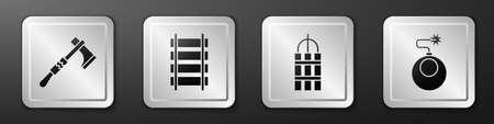Set Tomahawk axe, Railway, railroad track, Detonate dynamite bomb stick and Bomb ready to explode icon. Silver square button. Vector.