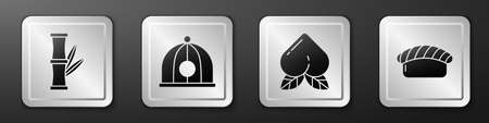 Set Bamboo, Chinese hat, Peach fruit and Sushi icon. Silver square button. Vector.