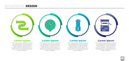 Set Industry metallic pipe, Water meter, Water filter and Well. Business infographic template. Vector.