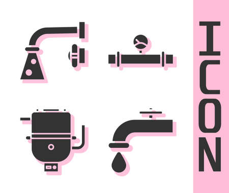 Set Water tap, Water tap, Electric boiler for heating water and Industry pipe and manometer icon. Vector.
