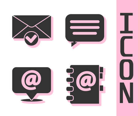 Set Address book, Envelope and check mark, Mail and e-mail on speech bubble and Speech bubble chat icon. Vector.