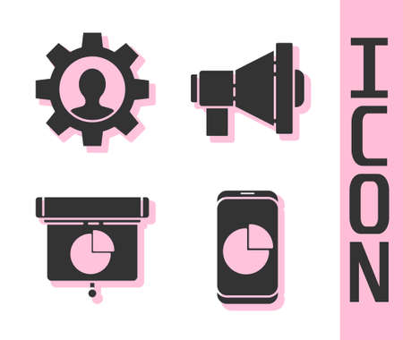 Set Mobile phone with graph chart, Human with gear inside, Graph, chart, diagram, infographic and Megaphone icon. Vector. Archivio Fotografico - 151071660
