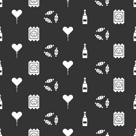 Set Champagne bottle, LSD acid mark, Balloon in form of heart and Candy on seamless pattern. Vector.