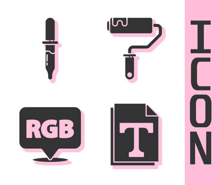 Set Text file document, Pipette, Speech bubble with RGB and CMYK and Paint roller brush icon. Vector.  イラスト・ベクター素材