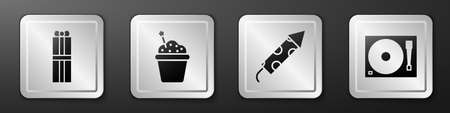 Set Gift box, Cake, Firework rocket and Vinyl player with a vinyl disk icon. Silver square button. Vector. Çizim