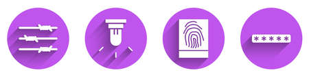 Set Barbed wire, Motion sensor, Fingerprint and Password protection icon with long shadow. Vector.