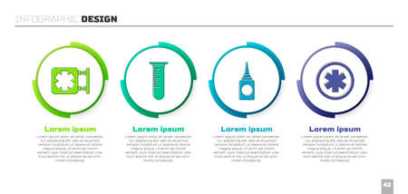 Set Medical symbol of the Emergency, Test tube and flask, Bottle nasal spray and Medical symbol of the Emergency. Business infographic template. Vector. Иллюстрация