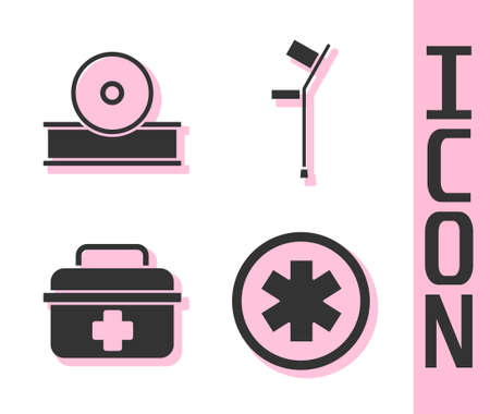 Set Medical symbol of the Emergency, Otolaryngological head reflector, First aid kit and Crutch or crutches icon. Vector.  イラスト・ベクター素材