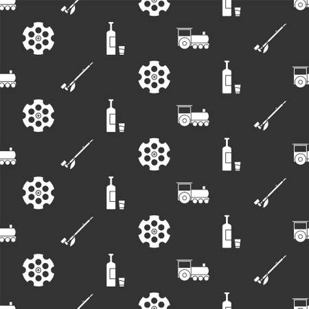 Set Retro train, Native American indian smoking pipe, Revolver cylinder and Whiskey bottle and glass on seamless pattern. Vector.