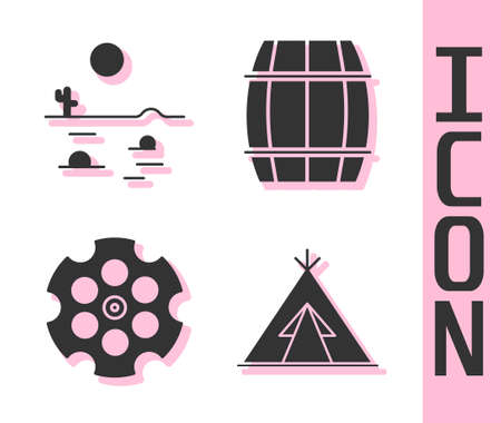 Set Indian teepee or wigwam, Desert landscape with cactus, Revolver cylinder and Wooden barrel icon. Vector.