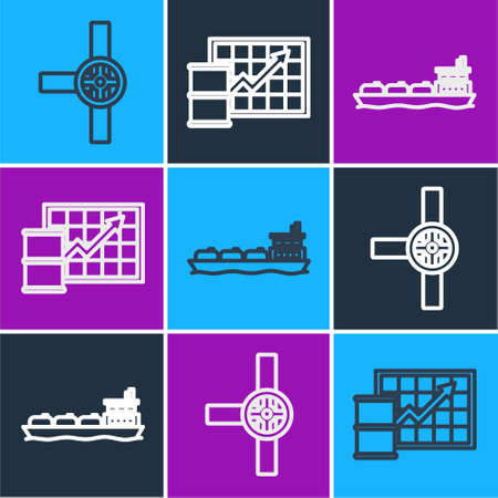 Set line Industry pipes and valve, Oil tanker ship and Oil price increase icon. Vector.