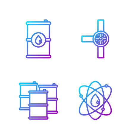 Set line Atom, Barrel oil, Barrel oil and Industry pipes and valve. Gradient color icons. Vector.