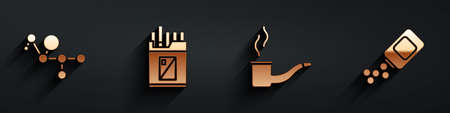 Set Cannabis molecule, Open cigarettes pack box, Smoking pipe and Medicine bottle and pills icon with long shadow. Vector.