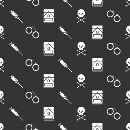 Set Skull on crossbones, Handcuffs, Syringe and Cigarettes pack box on seamless pattern. Vector