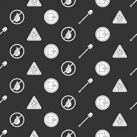 Set Fire shovel, Fire flame in triangle, No fire and Fire exit on seamless pattern. Vector
