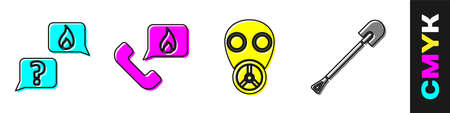 Set Phone with emergency call 911, Telephone with emergency call 911, Gas mask and Fire shovel icon. Vector.