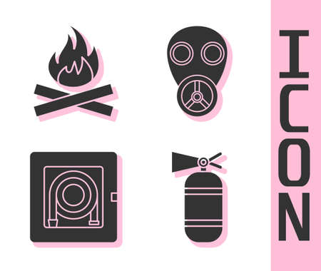 Set Fire extinguisher, Campfire, Fire hose cabinet and Gas mask icon. Vector