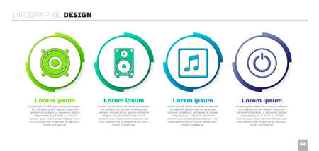 Set Stereo speaker, Stereo speaker, Music note, tone and Power button. Business infographic template. Vector.