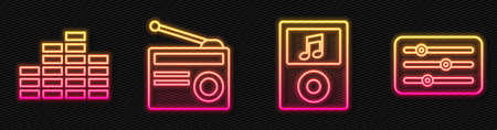 Set line Music player, Music equalizer, Radio with antenna and Sound mixer controller. Glowing neon icon. Vector.