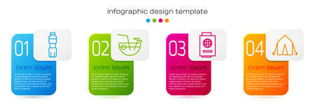 Set line Bottle of water, Coconut cocktail, Passport with ticket and Tourist tent. Business infographic template. Vector. Иллюстрация