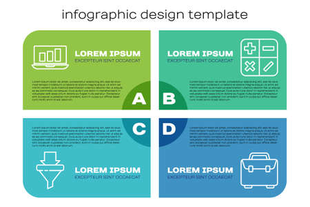 Set line Sales funnel with arrows, Laptop with graph chart, Briefcase and Calculator. Business infographic template. Vector. Иллюстрация