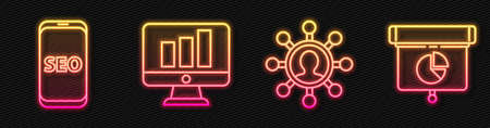 Set line Business network and communication, Mobile phone SEO optimization, Monitor with graph chart and Graph, chart, diagram, infographic. Glowing neon icon. Vector.