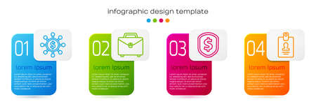 Set line Dollar, share, network, Briefcase, Shield with dollar and Identification badge. Business infographic template. Vector.