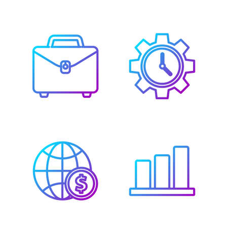 Set line Pie chart infographic, Earth globe with dollar, Briefcase and Time Management. Gradient color icons. Vector. Иллюстрация