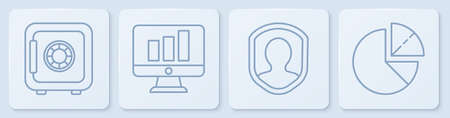 Set line Safe, User protection, Monitor with graph chart and Pie chart infographic. White square button. Vector. Иллюстрация