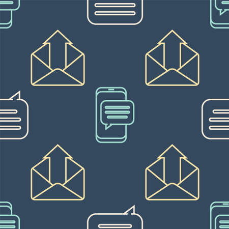 Set line Speech bubble chat, Outgoing mail and Chat messages notification on phone on seamless pattern. Vector. Ilustrace