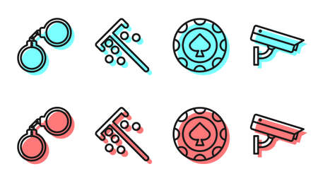 Set line Casino chips, Handcuffs, Stick for chips and Security camera icon. Vector. 일러스트