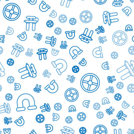 Set line Industry metallic pipe, Industry valve and Water filter on seamless pattern. Vector. Иллюстрация