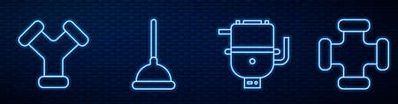 Set line Electric boiler for heating water, Industry metallic pipe, Rubber plunger and Industry metallic pipe. Glowing neon icon on brick wall. Vector.
