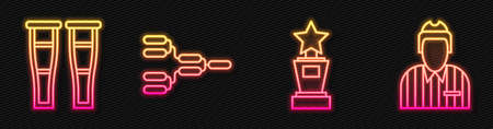 Set line Award cup, Crutch or crutches, Championship tournament bracket and Hockey judge, referee, arbiter. Glowing neon icon. Vector. 向量圖像