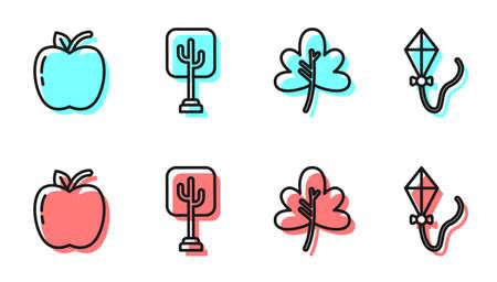 Set line Leaf or leaves, Apple, Tree and Kite icon. Vector.