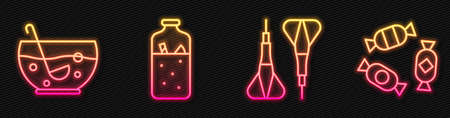 Set line Dart arrow, Mixed punch in bowl, Mulled wine and Candy. Glowing neon icon. Vector.