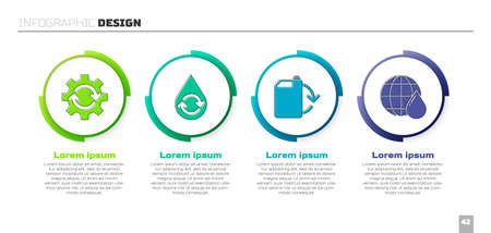 Set Gear and arrows as workflow, Recycle clean aqua, Eco fuel canister and Earth planet in water drop. Business infographic template. Vector. Иллюстрация