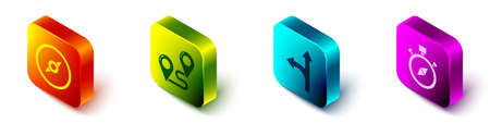Set Isometric Compass, Route location, Road traffic sign and Compass icon. Vector. Vettoriali