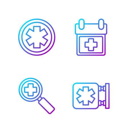 Set line Medical symbol of the Emergency, Magnifying glass for search medical, Medical symbol of the Emergency and Doctor appointment. Gradient color icons. Vector.