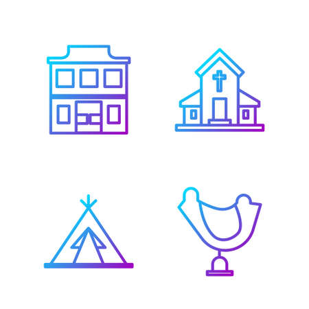 Set line Wild west saddle, Indian teepee or wigwam, Wild west saloon and Church building. Gradient color icons. Vector
