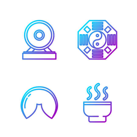 Set line Chinese tea ceremony, Chinese fortune cookie, Gong and Yin Yang. Gradient color icons. Vector. Illustration