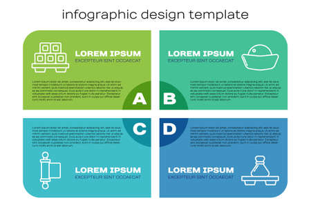 Set line Decree, paper, parchment, scroll, Sushi on cutting board, Dumpling on cutting board and Sushi. Business infographic template. Vector