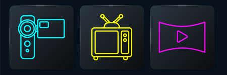 Set line Cinema camera, Online play video and Retro tv. Black square button. Vector Ilustração